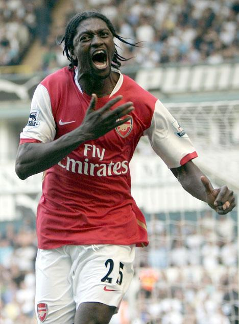 Adebayor wearing Arsenal colours